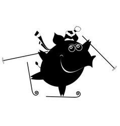 Cartoon pig a skier vector