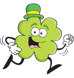Cartoon shamrock running vector image