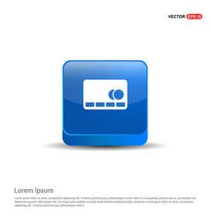 Cassette icon - 3d blue button vector