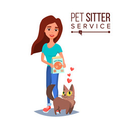 Cat pet sitter cat sitter walking pet vector