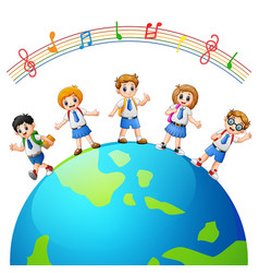 Children in over the earth vector