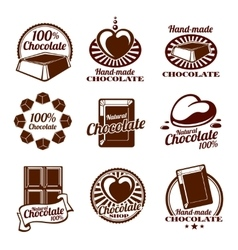 Chocolate logos emblems and badges vector image