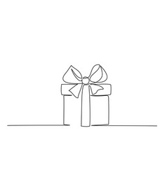 christmas present box with ribbon and bow vector image