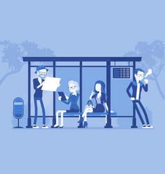 City bus stop people vector