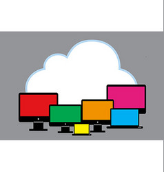 Cloud with PC vector image