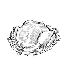 Cooked chicken coloring book vector