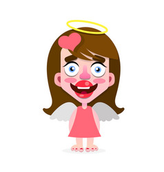 cute angel girl with a halo on her head vector image