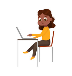 Cute little african american girl using laptop vector