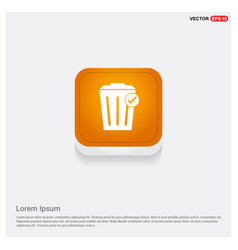 Delete icon orange abstract web button vector