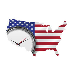 Detailed usa map with waving flag and masked clock vector
