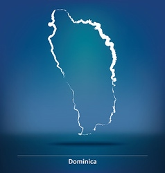 Doodle Map of Dominica vector