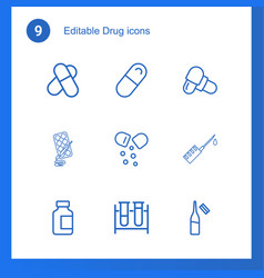 drug icons vector image