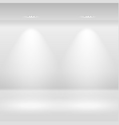 Empty white wall with spot lamps vector