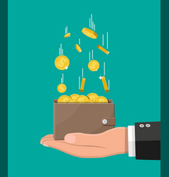 falling gold coins and leather wallet in hand vector image
