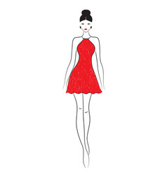 Fashion model sketch silhouette of beautiful vector