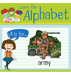 Flashcard letter A is for army vector