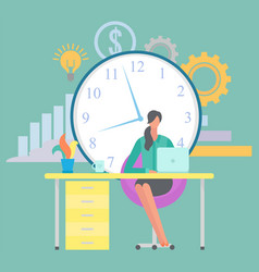 freelancer working from home woman at workplace vector image