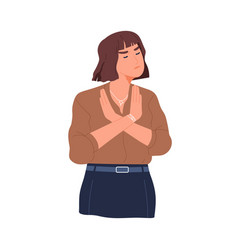 frowned woman with negative face expression saying vector image