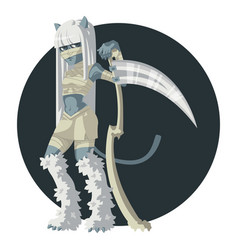 Girl mummy cat with a scythe vector