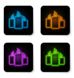 glowing neon burning candles icon isolated on vector image
