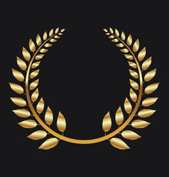 Golden laurel wreath on black background vector