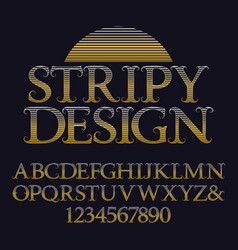 golden striped capital letters and numbers vector image
