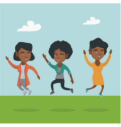 Group of joyful african-american people jumping vector