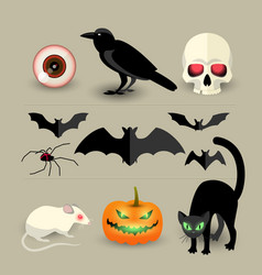 Halloween isolated decorative icons set vector
