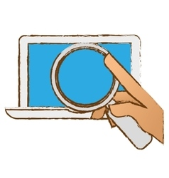 Hand examining computer with magnifying glass icon vector