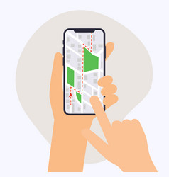 hand holding mobile smart phone with gps app map vector image