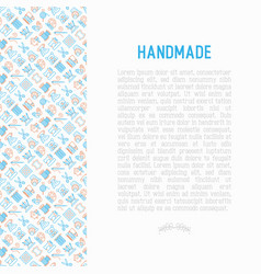 handmade concept with thin line icons vector image