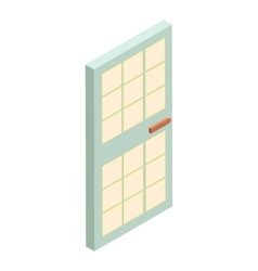 House door with glass icon cartoon style vector