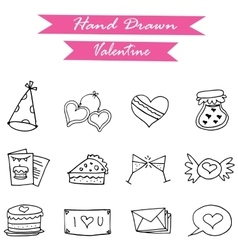 Icon of valentine day hand draw vector