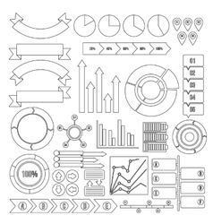 Infographic design parts icons set outline style vector image