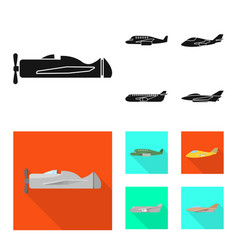 Isolated object travel and airways sign set of vector