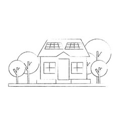 Isolated solar panel house vector