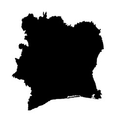 Ivory coast map silhouette isolated vector