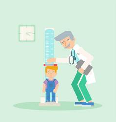 Kid in pediatrics clinic flat vector