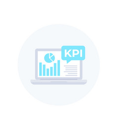 Kpi icon with laptop and business analytics vector