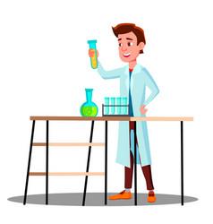 Laboratory technician guy growing medicinal vector