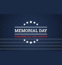 Memorial day background banner vector