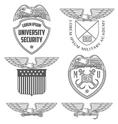 Military labels badges and design elements vector