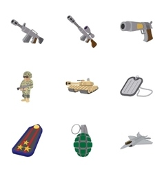 Military weapons icons set cartoon style vector