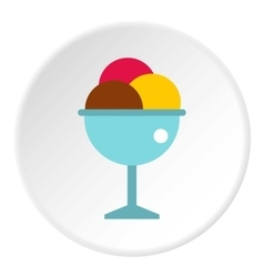 Mixed ice cream in a bowl icon flat style vector