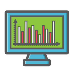 Monitor chart colorful line icon business graph vector