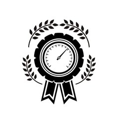 Monochrome medal speedometer with olive branchs vector