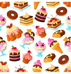 pastry dessert cakes seamless pattern vector image