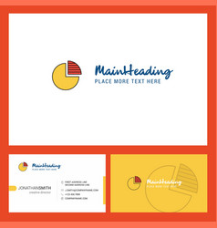 pie chart logo design with tagline front and vector image
