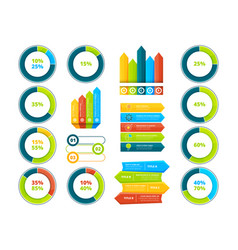 pie graphs vertical and horizontal arrows vector image