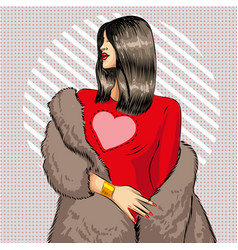 Pop art beautiful brunette woman in fur vector